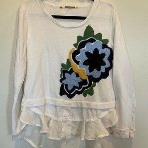 Anthropologie White Rosalie Tiered Sweatshirt Med